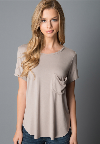 Another Love- Sam Short Sleeve Pocket Tee in Light Mocha
