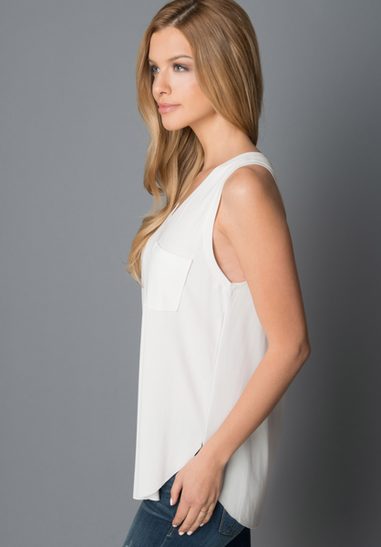 Another Love- Esther Sleeveless Pocket Tee in White