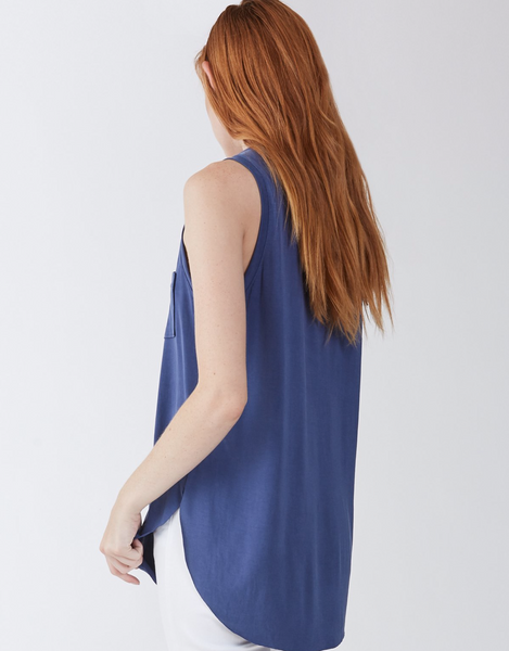 Another Love- Esther Sleeveless Pocket Tee in Dark Denim