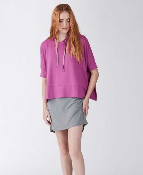 Another Love- Sierra Short Sleeve Hoodie in Magenta