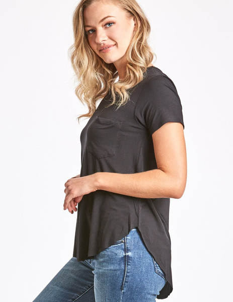 Another Love- Sam Short Sleeve Pocket Tee in Black