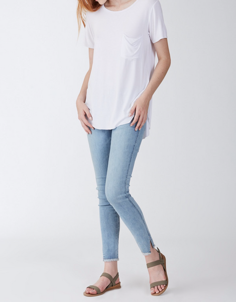 Another Love- Sam Short Sleeve Pocket Tee in White