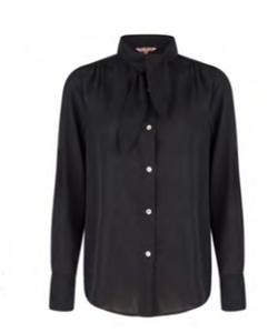 Esqualo- Button Up Blouse with Collar Scarf in Black