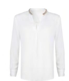 Esqualo- Silver Banded Collar Top in Off White