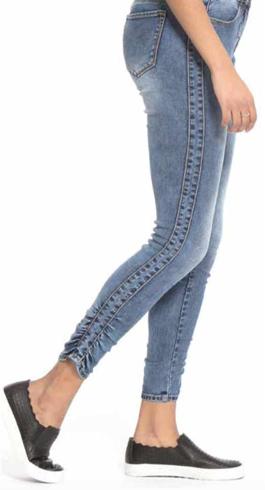 Lola Jeans- Blair Mid Rise in Medium Blue Distressed