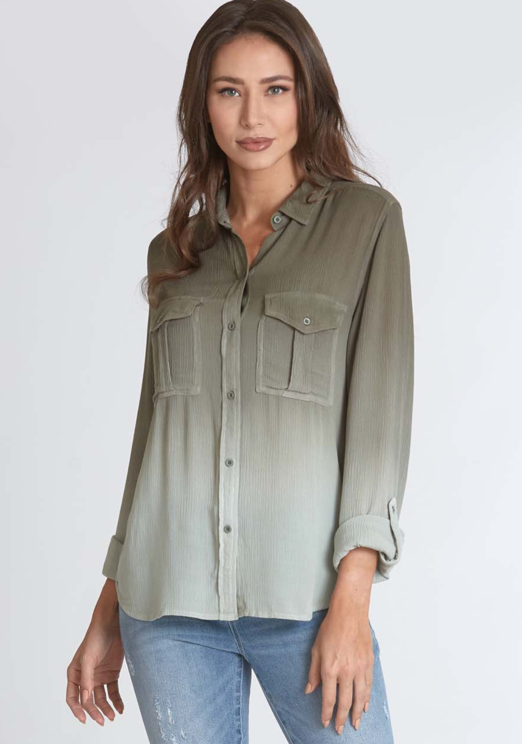 Dear John- Adrienne Button Up Top in Aloe