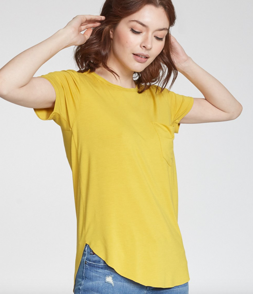 Another Love- Sam Short Sleeve Pocket Tee in Saffron