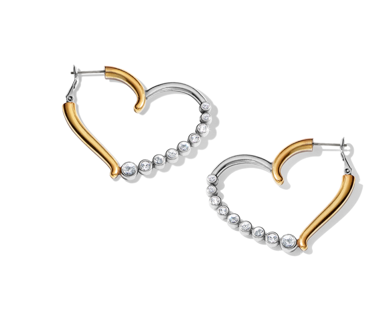 Brighton- Sparkle Heart Leverback Hoops