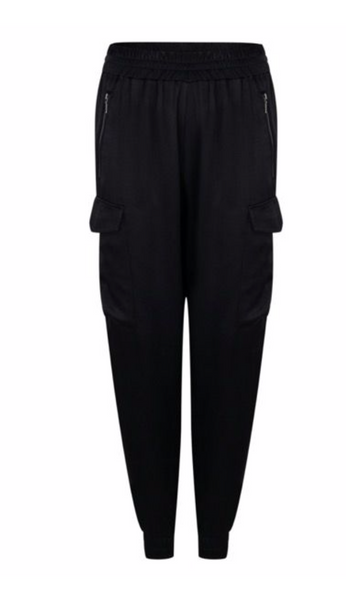 Esqualo- Satin Jogger in Black