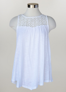 Keren Hart- Sleeveless Top with Lace Neckline Detail in White