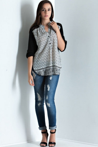 Entro- Printed Roll Up Sleeve Button Down Blouse