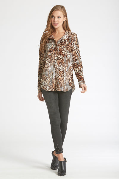 Dear John- Leena Velvet Button Up Top in Animal