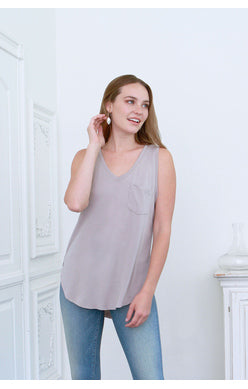 Another Love- Esther Sleeveless Pocket Tee in Pebble