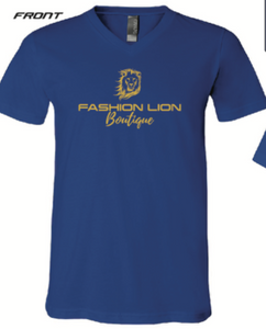 Fashion Lion- Logo Shop Local V-Neck Tee in Royal Blue