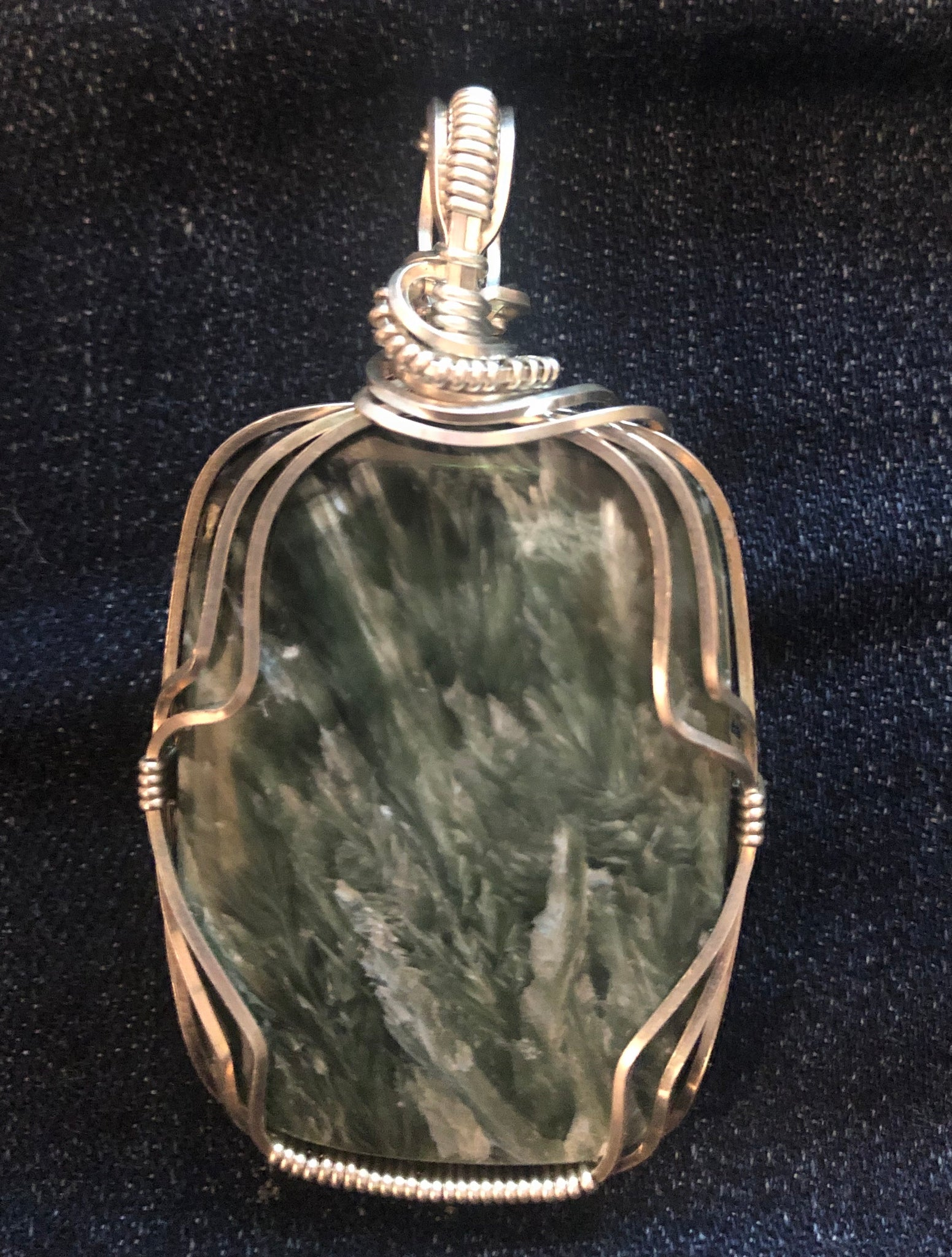 Fashion Lion- Large Serephine Stone Pendant wrapped in Sterling Silver Setting