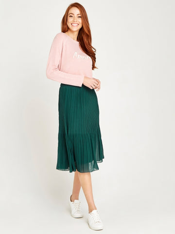 Apricot- Green Graduation Plisse Skirt