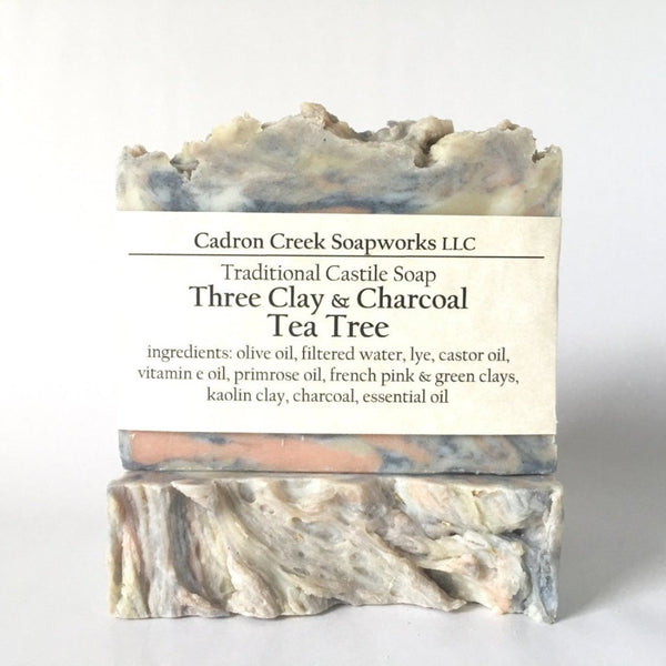 Three Clay Charcoal Tea Tree Castile Handmade Soap
