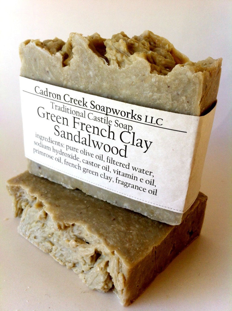 French Green Clay Sandalwood Castile Handmade Soap