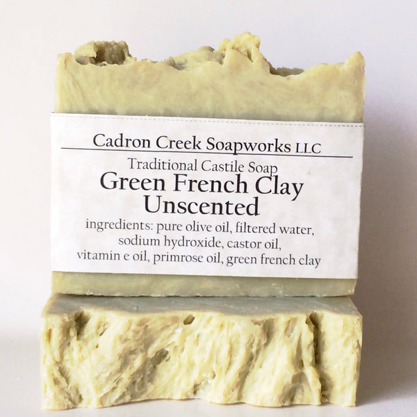 French Green Clay Unscented Castile Handmade Soap