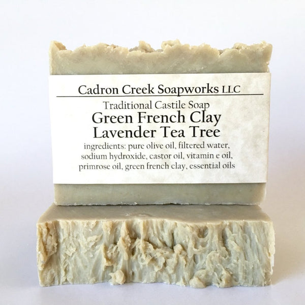 French Green Clay Lavender Tea Tree Castile Handmade Soap