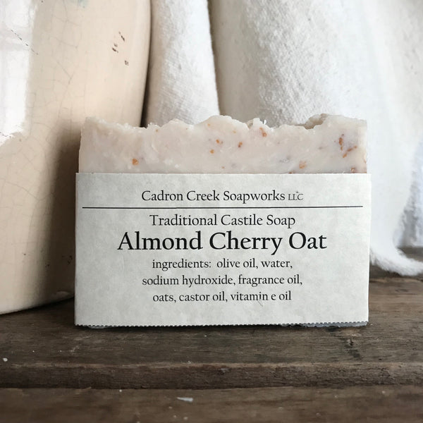 Traditional Castile Almond Cherry Oat Handmade Soap