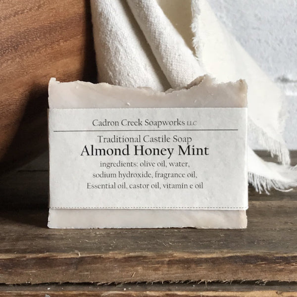 Traditional Castile Almond Honey Mint Handmade Soap