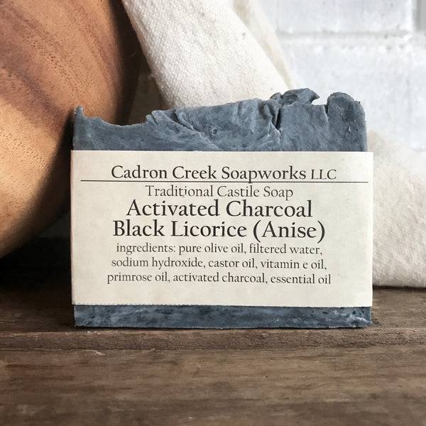 Charcoal Black Licorice Castile Handmade Soap
