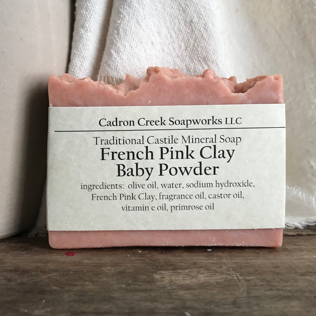 French Pink Clay Baby Powder Castile Handmade Soap