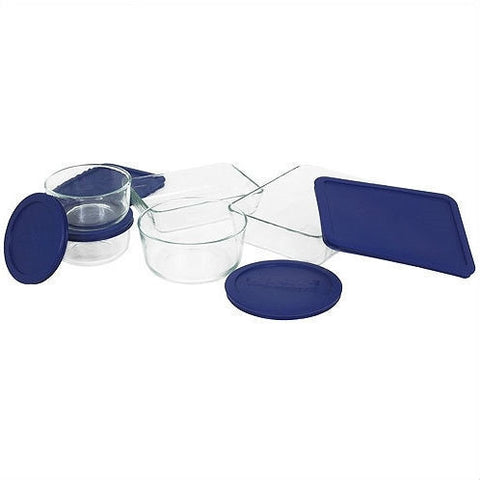10 Piece Glass Bakeware Set with Blue Lids - Oven Microwave Dishwasher Freezer Safe-Kitchen > Cookware Sets-Loluxe
