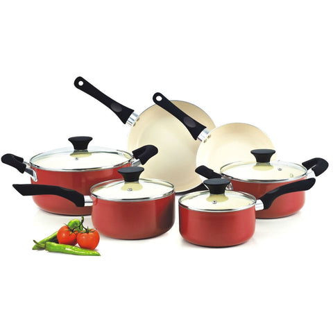 10-Piece Nonstick Ceramic Coating Cookware Set in Red-Kitchen > Cookware Sets-Loluxe