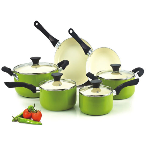 10-Piece Nonstick Scratch Resistant Ceramic Coating Cookware Set in Green-Kitchen > Cookware Sets-Loluxe