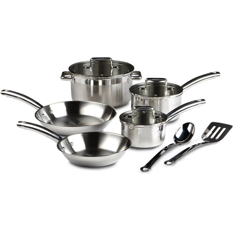 10-Piece Stainless Steel Cookware Set - Dishwasher Safe-Kitchen > Cookware Sets-Loluxe