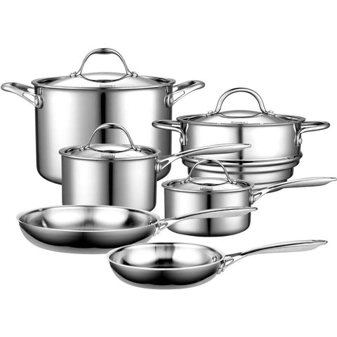 10-Piece Stainless Steel Cookware Set - Lifetime Warranty-Kitchen > Cookware Sets-Loluxe