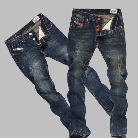 100% Cotton Men's Denim Straight Cut Ripped Jeans Sizes 28-40 Two Colors