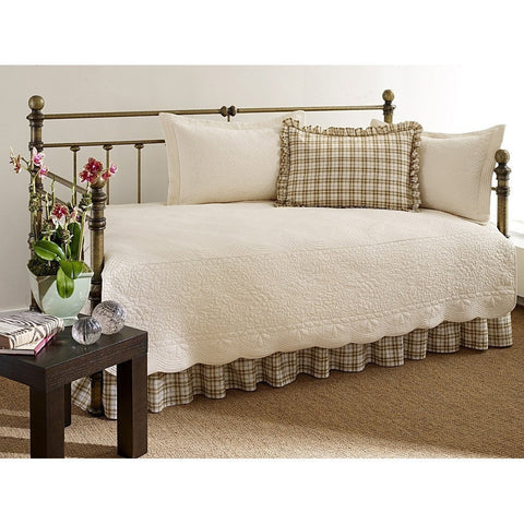 100-Percent Cotton 5-Piece Daybed Bedding Set in Ivory-Bedroom > Comforters and Sets-Loluxe