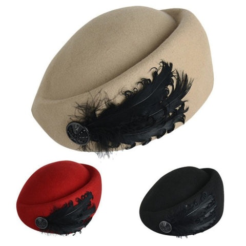 100% Wool Warm Feather-Accent Hat 3 Colors-Loluxe