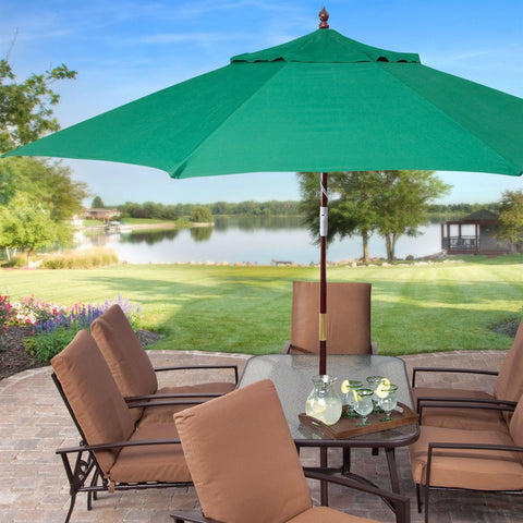 11 Ft Wood Patio Umbrella With Green Canopy   Commercial Grade Outdoor U003e  Outdoor