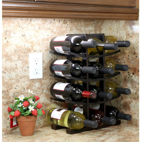 12-Bottle Wine Rack in Dark Espresso Finish Bamboo-Kitchen > Wine Racks and Coolers-Loluxe