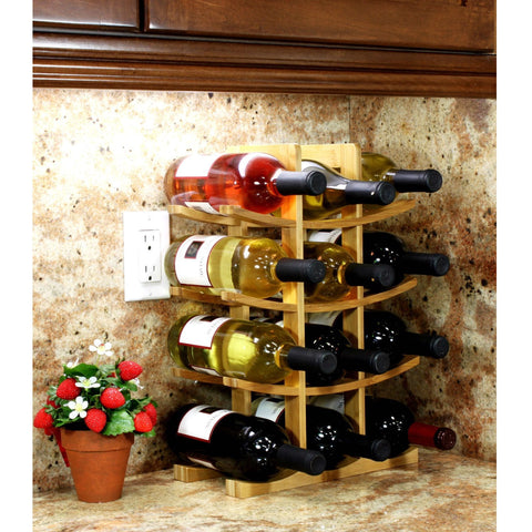 12-Bottle Wine Rack Modern Asian Style in Natural Bamboo-Kitchen > Wine Racks and Coolers-Loluxe