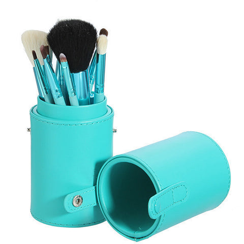 12 Pcs Professional Makeup Cosmetic Brush Set w/Cylinder Leather Case