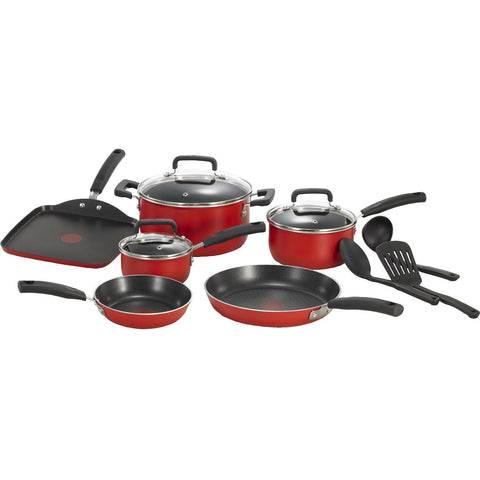 12-Piece Nonstick Cookware Set in Red-Kitchen > Cookware Sets-Loluxe