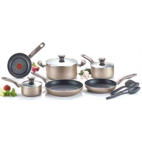 12-Piece Nonstick Dishwasher & Oven Safe Cookware Set in Bronze-Kitchen > Cookware Sets-Loluxe