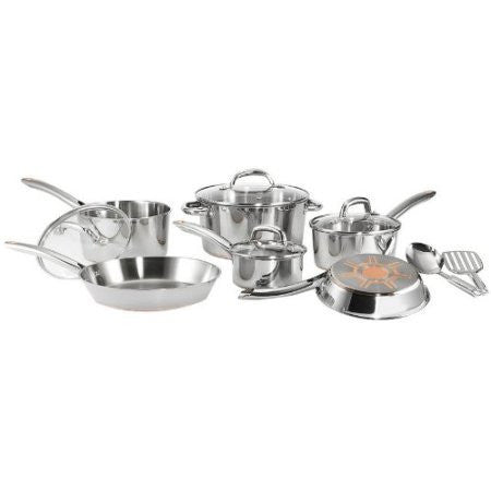 12-Piece Stainless Steel Cookware Set with Copper Bottom-Kitchen > Cookware Sets-Loluxe