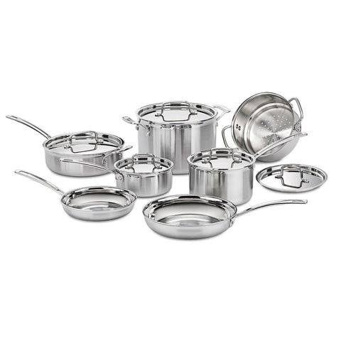 12-Piece Stainless Steel Professional Oven Safe Cookware Set-Kitchen > Cookware Sets-Loluxe