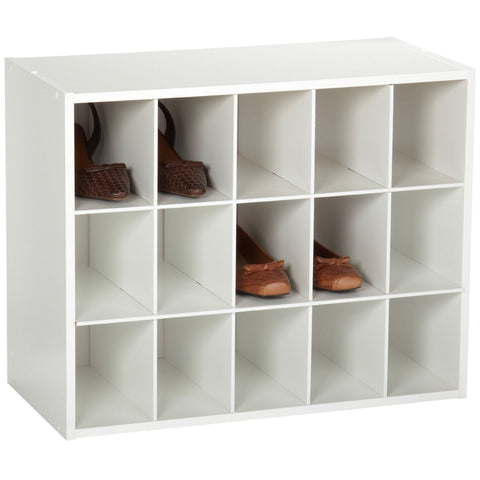 15-Cubby Stackable Shoe Rack Organizer Shelves in White Wood Finish-Accents > Shoe Racks-Loluxe