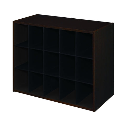 15-Pair Shoe Rack Closet Cubby Organizer Shelves in Espresso Wood Finish-Accents > Shoe Racks-Loluxe