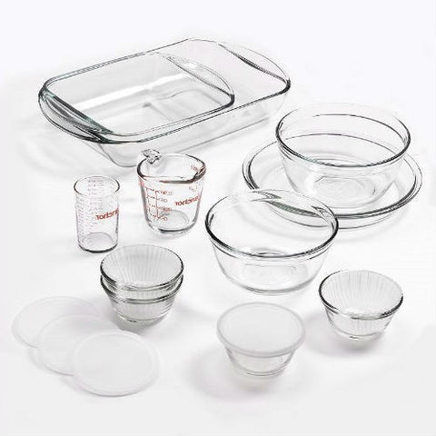 15-Piece Glass Bakeware Set with Food Storage Bowls and Lids-Kitchen > Cookware Sets-Loluxe