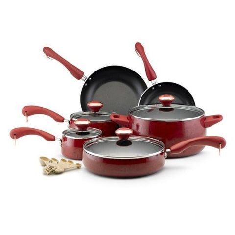 15-Piece Nonstick Porcelain Cookware Set in Red-Kitchen > Cookware Sets-Loluxe