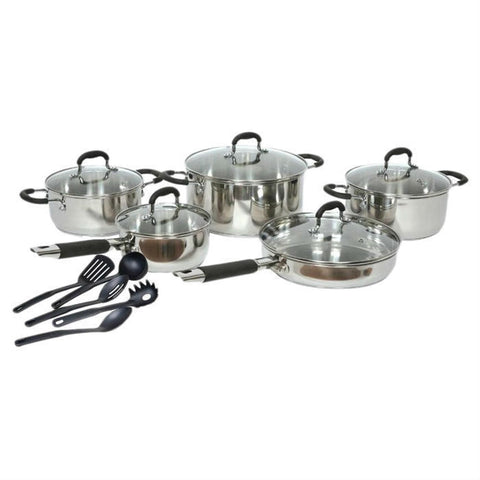 15-Piece Stainless Steel Cookware Set with Nylon Utensils-Kitchen > Cookware Sets-Loluxe