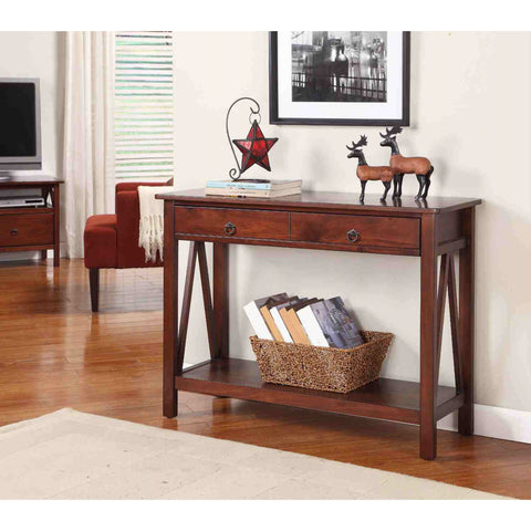 2-Drawer Console Sofa Table Living Room Storage Shelf in Tobacco Brown-Living Room > Console & Sofa Tables-Loluxe